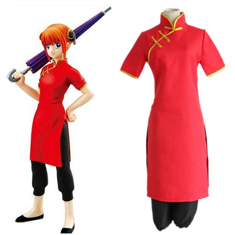 Home Anime Cosplay For Jyunna Kagura Gin Tama Cheongsam Dress With Wigs Flat Umbrella Vestidos Costume Adult Halloween Party Carnival Evident Effect
