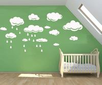 Baby Wall Decals CLOUDS & rain drops removable wall stickers for Nursery or kids room Vinilos Paredes Stickers Muraux D695