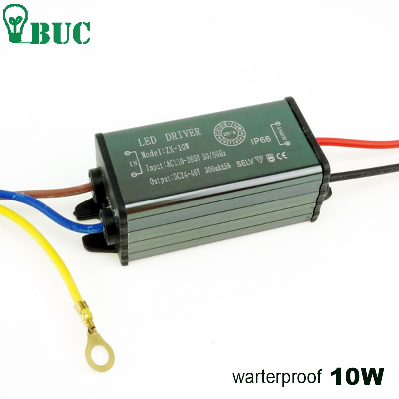10W 300mA LED Driver AC110V-265V to DC 20-38V Adapter Transformer Switch Power Supply IP67 For Flood