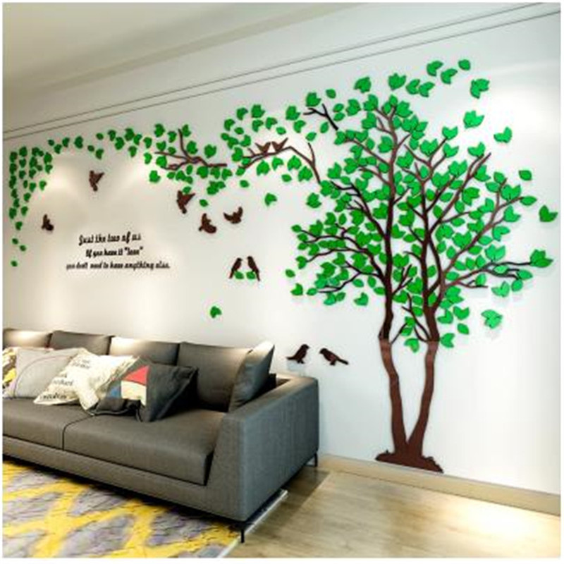 romantic couple tree crystal acrylic wall stickers modern living