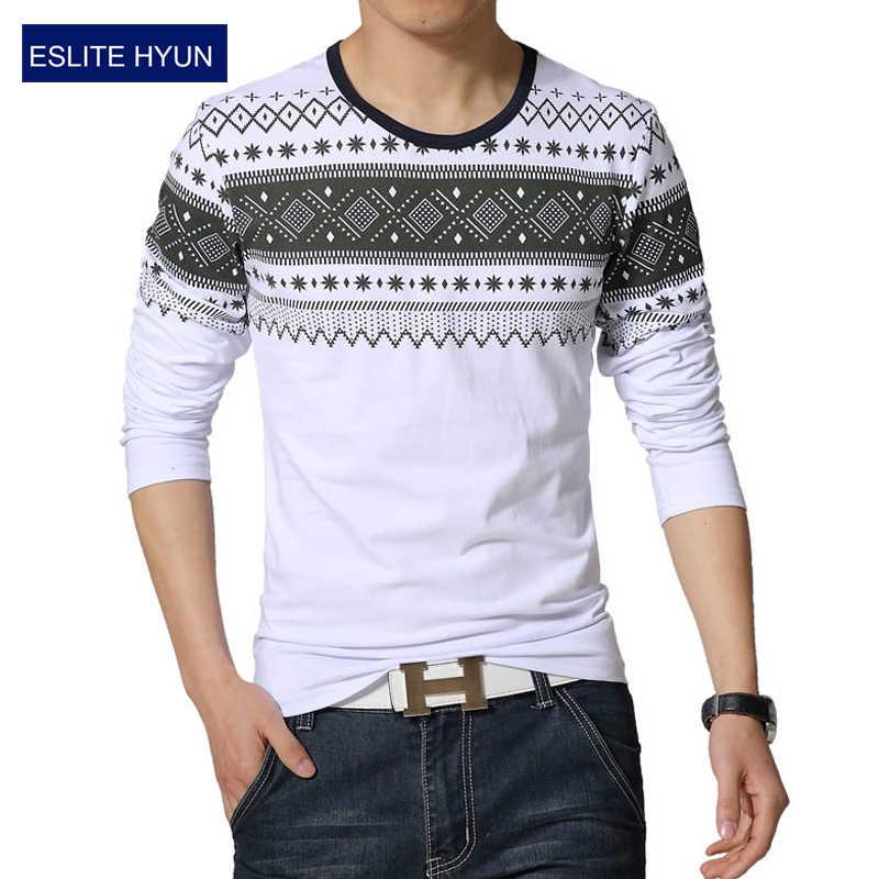 2017 Nueva moda floral casual Masculina camiseta de algodón a rayas de manga larga camiseta o cuello de la camiseta de impresión camiseta de los hombres 4XL 5XL
