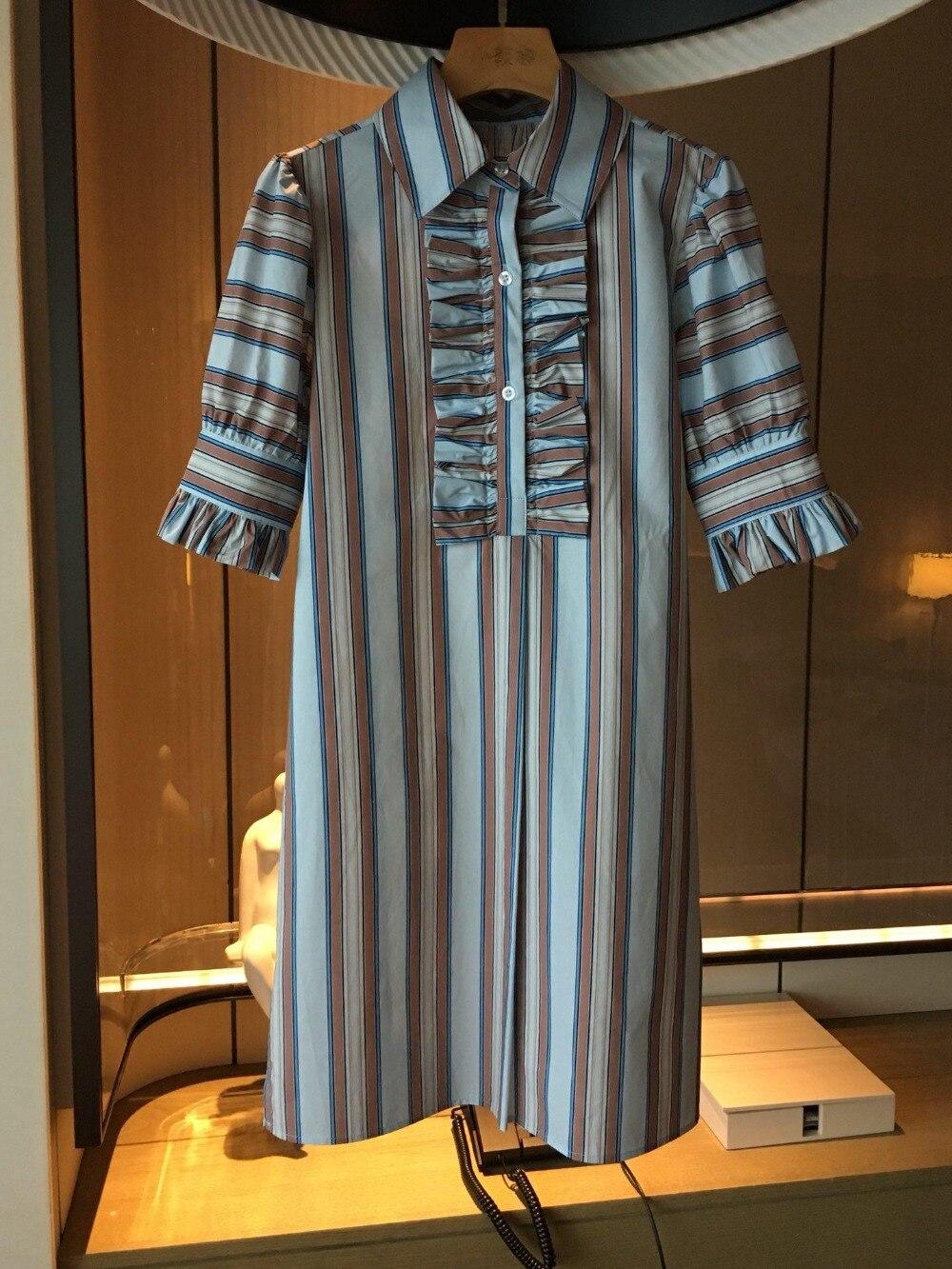 2019 printemps été nouvelle mode rayé coton femmes robe col rabattu femmes robes 0308