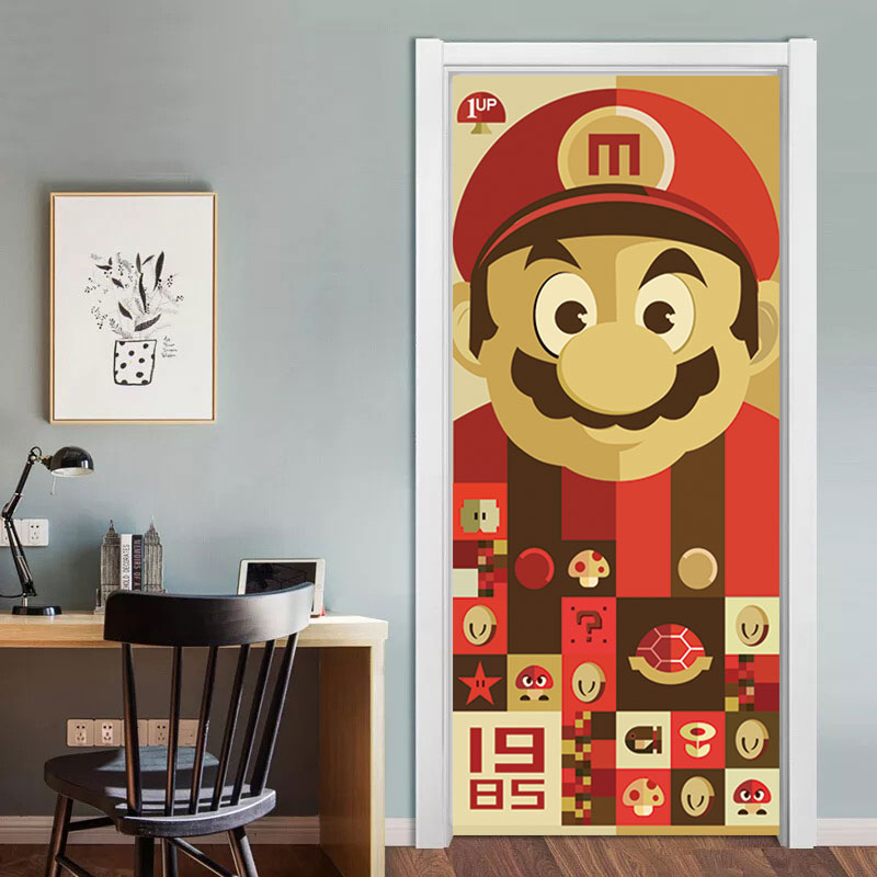 3D Super Mario Door Decor Art Mural For Kids Room Playroom Cartoon Vinyl Door Stickers Removable DIY Decal Waterproof Wallpaper