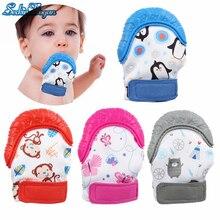 SeckinDogan Baby Gloves Mittens Silicone Cotton Newborn Gloves Nursing Teether Natural Thumb Sound Baby Stuff For Newborns