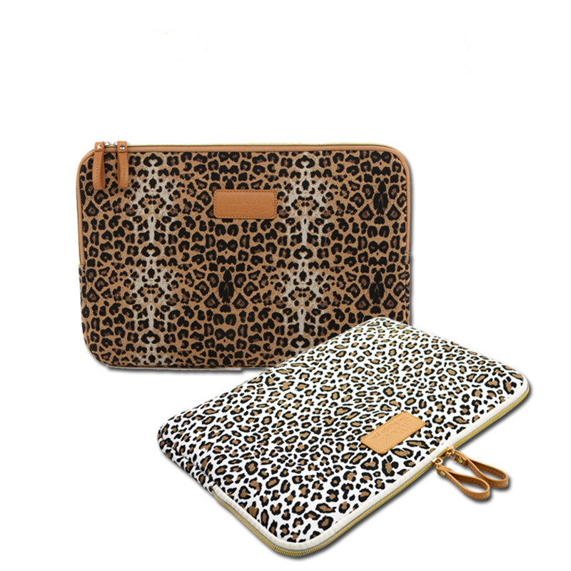 New Leopard Canvas Fabric Sleeve Case Bag Notebook laptop sleeve 8/9/10/11/12/13/14/15 Inch for MacBook Air Pro Lenovo Dell HP