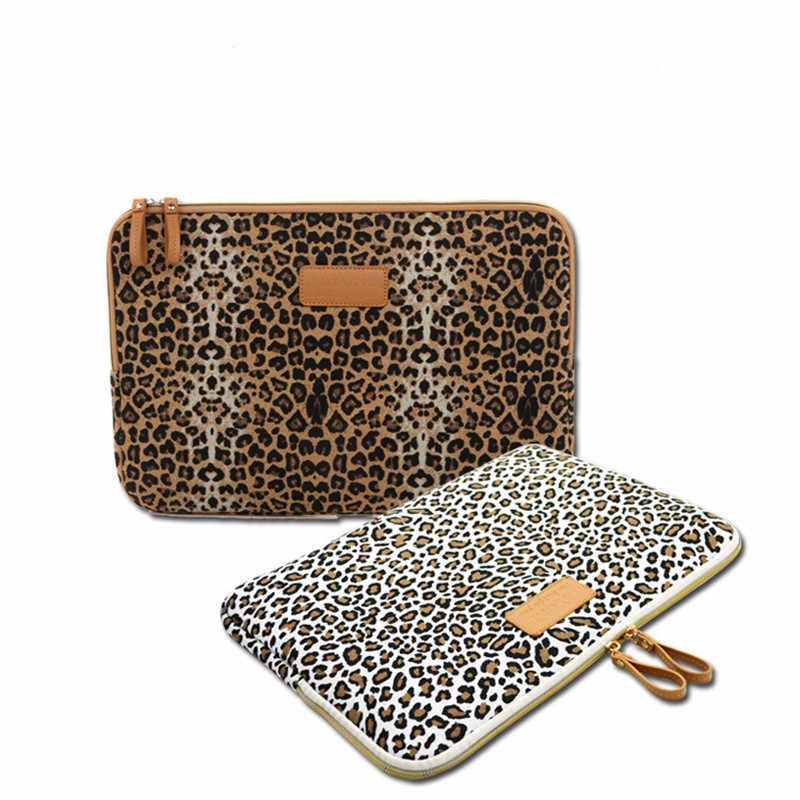 Nouveau léopard toile tissu housse sac Notebook pochette pour ordinateur portable 8/9/10/11/12/13/14/15 pouces pour MacBook Air Pro Lenovo Dell HP