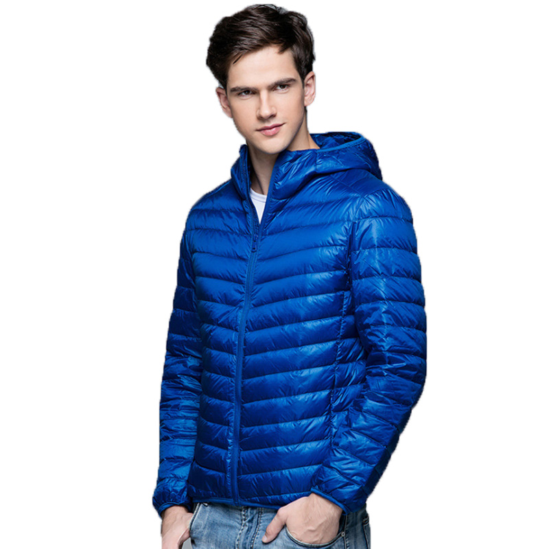 Ultra Light Down Jackets Mens 2019 Autumn Winter Coat Fashion Hooded 90% White Duck Down Jackets Male Coat Thin Slim Down Parkas