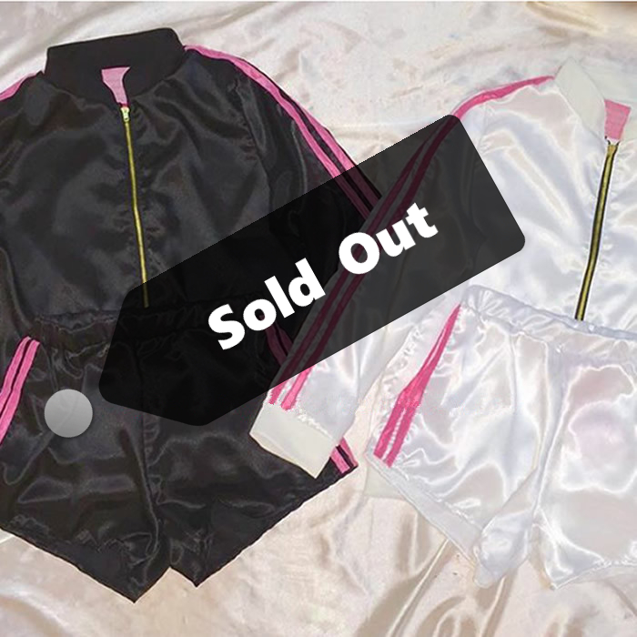 2017 Harajuku Cute Hip Hop Style Pink Silk Bomber Jacket Women Parallel Bars Jacket + Short ...