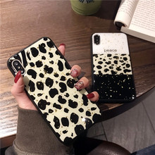 Luxury gold leopard case for xiaomi mi 8 lite Bling Silicone 9 se Gel Rubber spliced color peace  coque