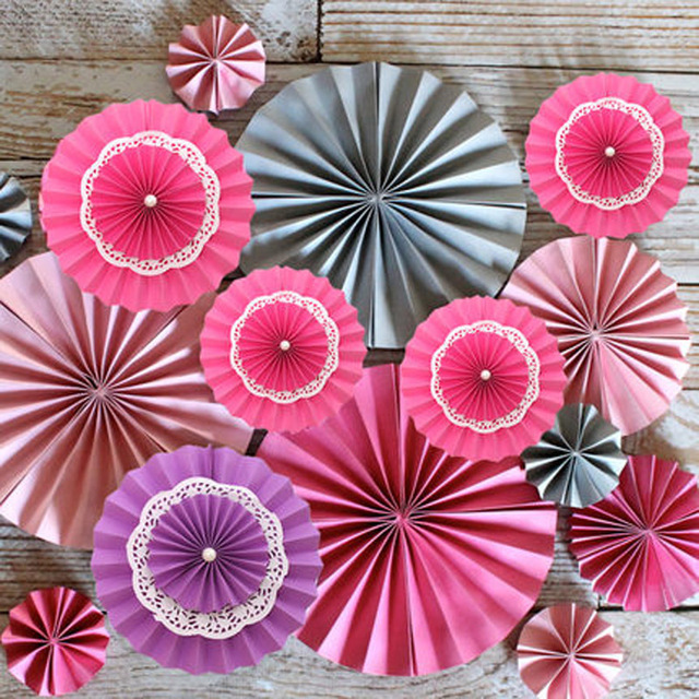 5pcslot 615cmtissue Paper Fan Flower For Mariage Casamento