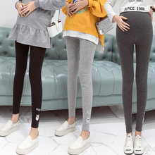 Letter Embroidery Maternity Leggings Solid Color Maternity Clothes Spring Autumn Elastic Pregnancy Clothes for Pregnant Women недорого