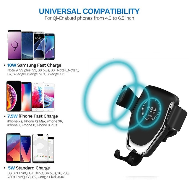FDGAO 10W Qi Wireless Car Charger Mount Phone Holder For iPhone XS Max XR X 8 Plus Gravity Fast Charging for Samsung S10 S9 S8 4