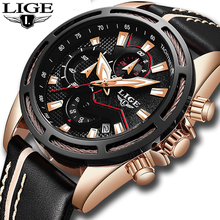 2018 New LIGE Sport Chronograph Mens Watches Top Brand Luxury Leather Waterproof Date Quartz Watch Man Clock Relogio Masculino