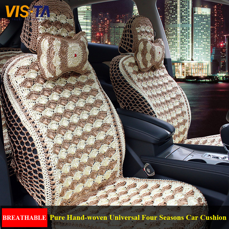 pure hand woven universal breathable four seasons car cushion set comfortable fox glk260 q5 q7. Black Bedroom Furniture Sets. Home Design Ideas