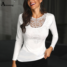 Aimsnug Women Long Sleeve Leisure White Lace Patchwork Tops O-Neck Female T-Shirt Autumn Casual Loose Ladies Tee Shirt