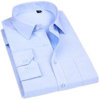 Hohe Qualität Nicht bügeln Männer Kleid Langarm-shirt 100% Baumwolle 2018 Neue Feste Männliche Kleidung Fit Business-hemden weiß Blau
