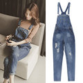 autumn distrressed finishing loose retro high waist denim bib pants trousers female