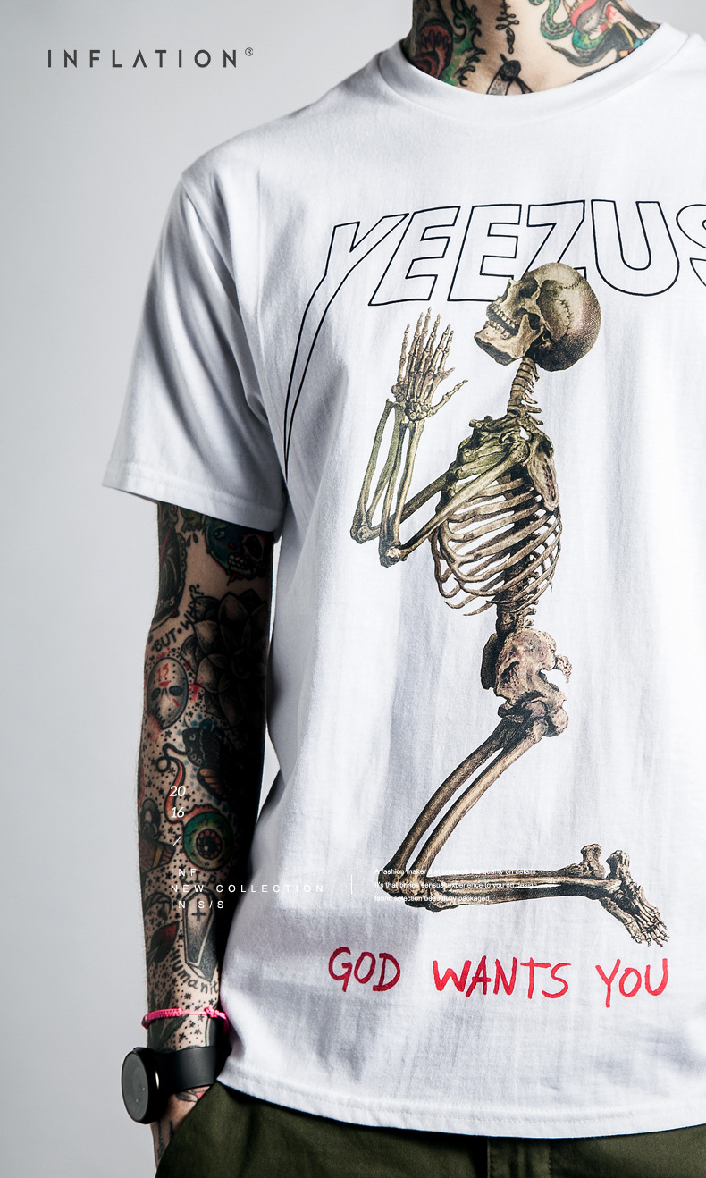 Yeezus Tour Short Sleeve T shirt Skull Ghost Merch Indian