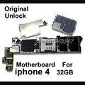 Función completa envío libre desbloqueado y original placa madre para iphone 4,32 gb placa lógica mainboard versión de la ue con fichas completas