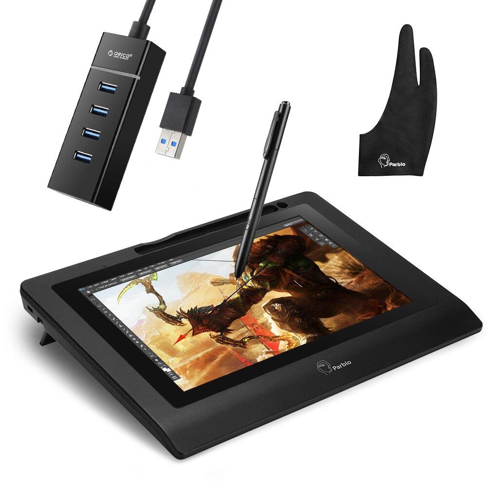 Parblo Coast 10 tablette graphique dessin moniteur HD IPS avec touches de raccourci et stylo sans batterie + gant Anti-encrassement