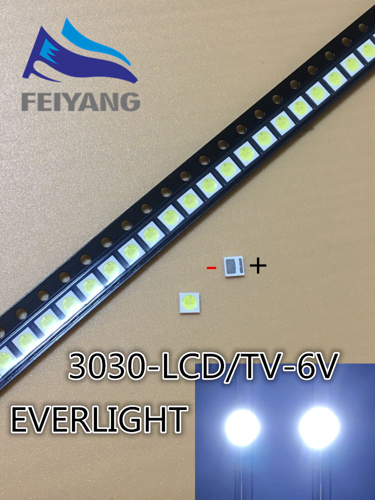 50PCS EVERLIGHT LED Backlight 1-2W 3030 6V Cool white 125-150LM LCD Backlight for TV TV Application 62-123TUN2C/F110140N57SBF-T