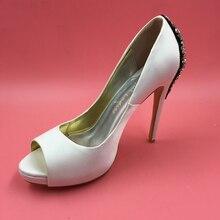 Ivory Satin Rhinestones Women Pumps Wedding Shoes Slip-on Bridal Shoes Pumps Peep Toe 12cm High Heels Stilettos Size 45