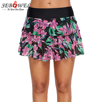 SEBOWEL Sexy 2019 Women Black Pink Floral Print Lacy Skirt Attached Swim Bottom High waist Plus Size Costumi Da Bagno Donna 3XL
