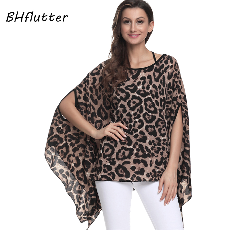 BHflutter Tops Women 2018 New Arrival Sexy Leopard Print Casual Blouse Shirt Summer Style Batwing Sleeve Chiffon Blouses Blusas
