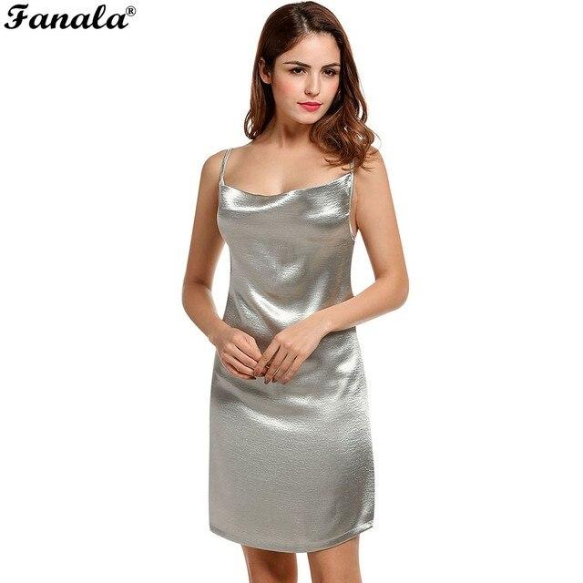 61a18e4c9c0 FANALA Women Dress Sexy Solid Shining Party Dresses Cowl Neck Spaghetti  Straps Cami Mini Dress Female
