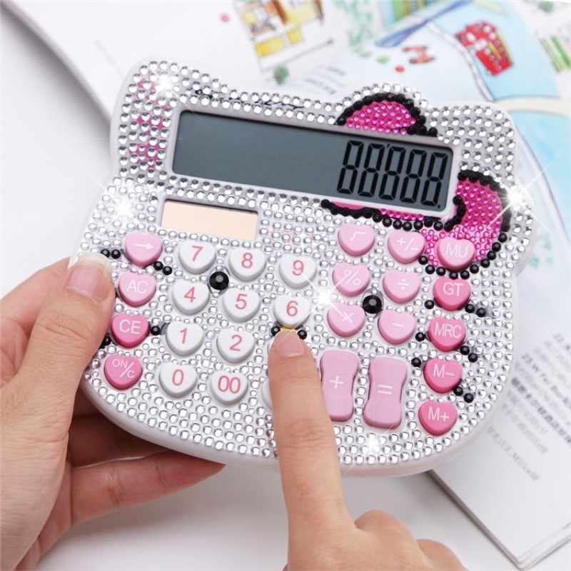 Bonito Luxo Strass Cristal Diamante Olá Kitty Calculadora Dígitos 12 Solar Rosa/branco Duplo Poder Calculadora