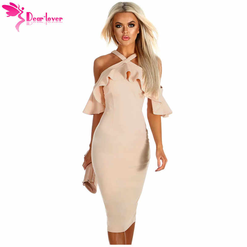633e20a5f1d79 Dear Lover Ruffles Summer Party Dresses Nude Jacinth Halter Frill Short  Sleeve Cold Shoulder Midi Dress Vestidos Mujer LC610206