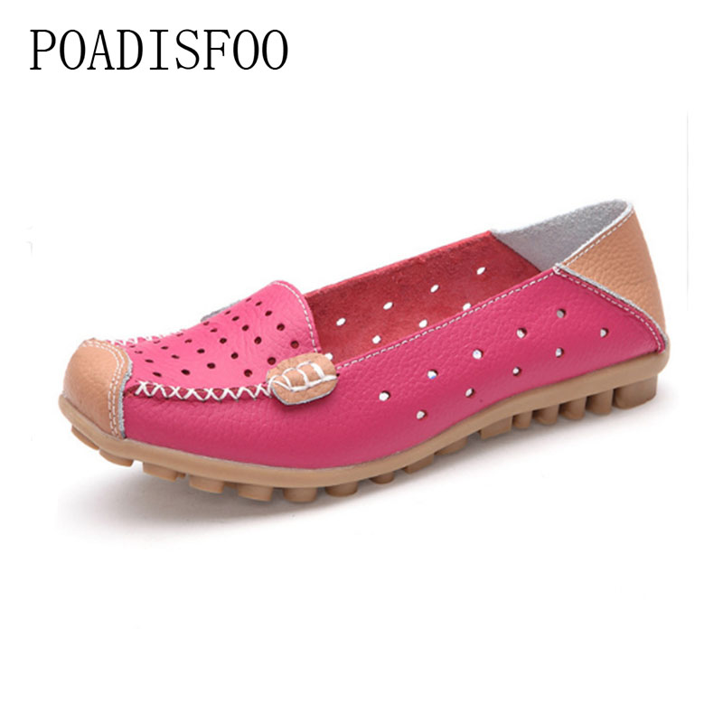 POADISFOO 2017 Spring and Summer new soft bottom  Genuine leather Leisure breathable flat Small hole shoes driver shoe.CQY-3679 baijiami 2017 new children solid breathable slip on pu casual shoes boys and girls spring summer autumn flat bottom shoes