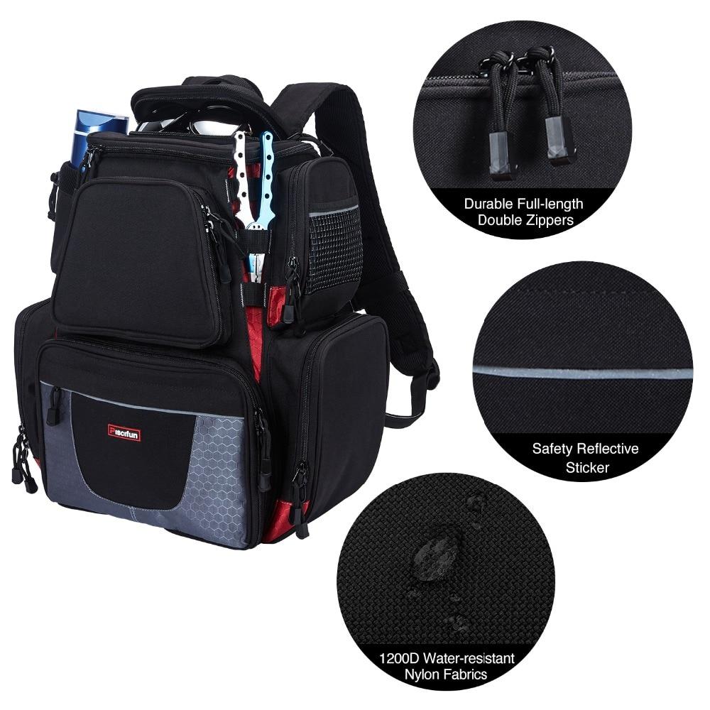 Piscifun Fishing Tackle Backpack Waterproof Tackle Bag Trays Storage Outdoor Fishing Bag Protective Rain Cover(no tackle boxes) - 6