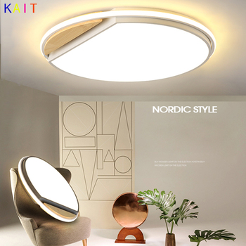 Iron + wood Nordic Dimmable Led Ceiling Lights Living Room Led Ceiling Lamps Fixture