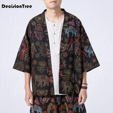 2019 high street japanese style men kimono three quarter sleeves cotton & linen drop shouder coat