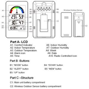 Image 4 - FanJu FJ3356 Digital Thermometer Hygrometer Weather Station Wall Clock Wireless Sensor Alarm Comfort Pointer Display Table Watch