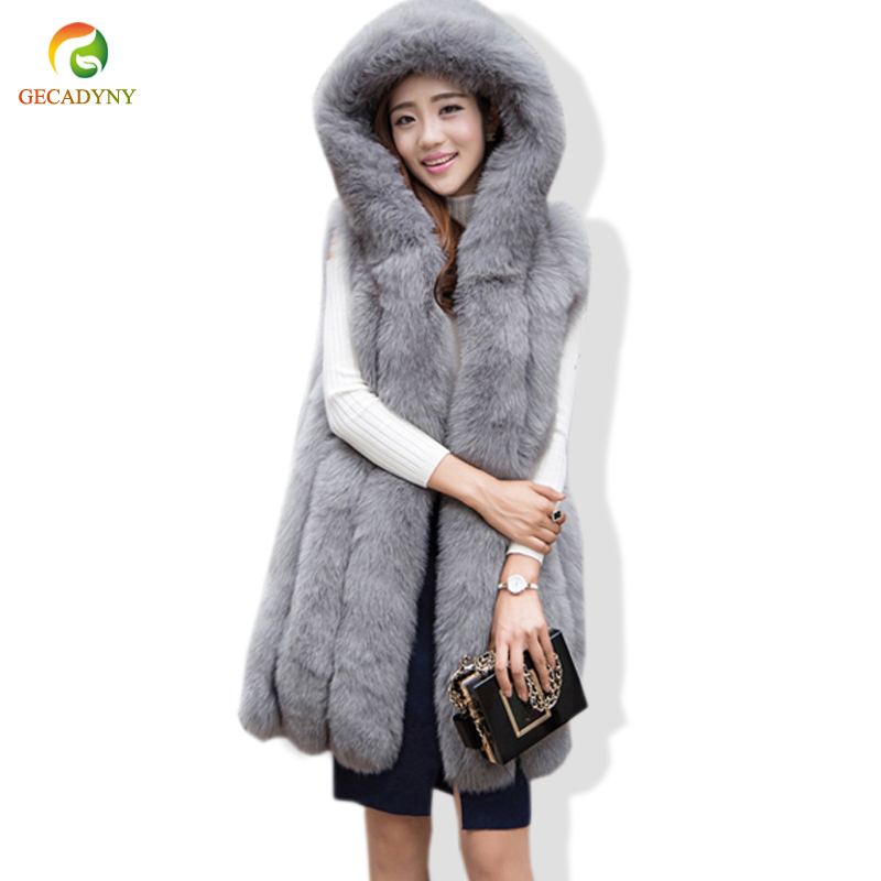 777e7d2d1b5 Detail Feedback Questions about Faux Fur Coat Winter Women Casual Hooded  Warm Slim Sleeveless Faux Fox Fur Vest Thick Jacket Coat Women Casaco  Feminino ...