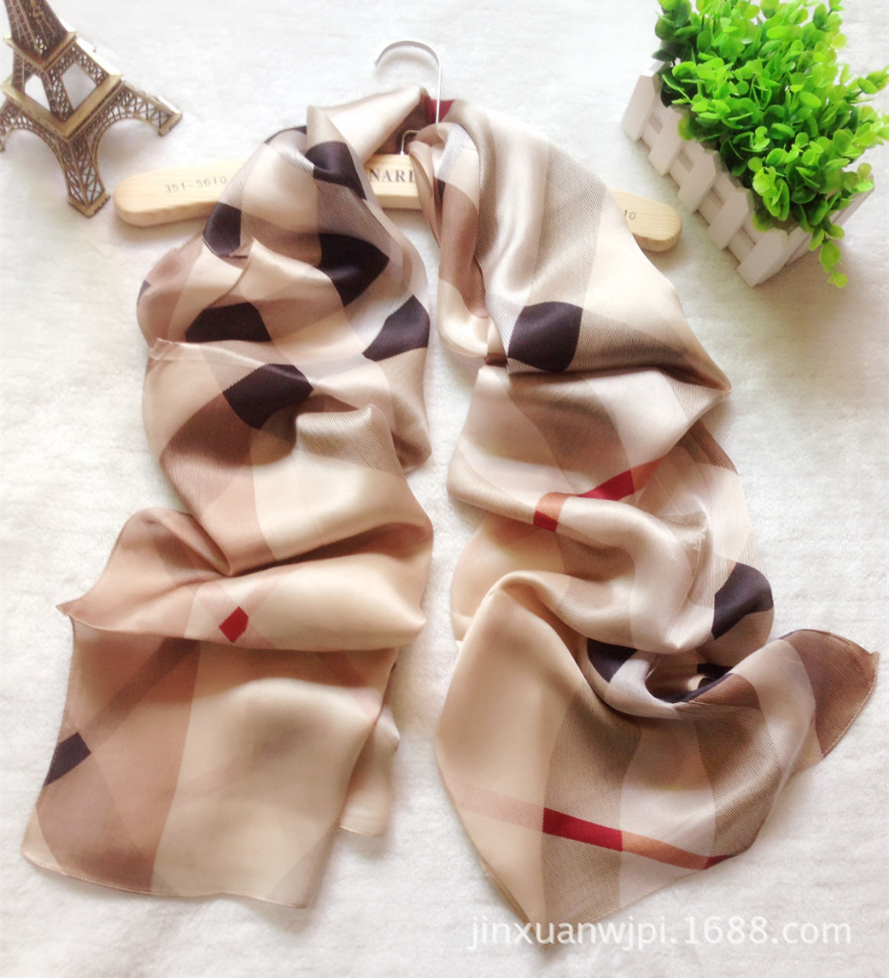 Classics Europe And The British Grid Big Summer Silk Scarf Plaid Shawl / Scarf For Woman Wraps Lady Pure Silk Bandana 180CM*70CM