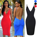 2017 Summer Women Sexy Dress Stretch Slim Bodycon Cocktail Backless Party Dresses Club Short Vestidos Black Blue Red Robe