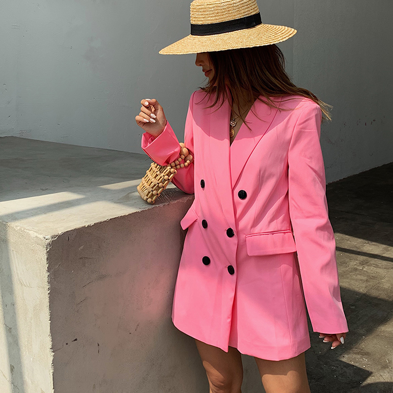Women's Suits 2019 Spring And Autumn New Women's Casual Solid Color Long Suit Jacket Loose Straight Trousers Two-Piece