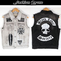 summer spring&autumn Punk  hip hop Denim vest Jeans Men's Vest embroidery sleeveless clothing skulls motorcycle fashion coat