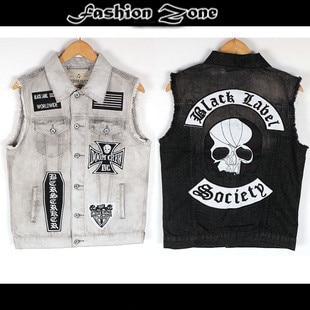 summer spring&autumn Punk  hip hop Denim vest Jeans Men's Vest embroidery sleeveless clothing skulls motorcycle fashion coat