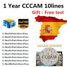 10 линий CCCAM HD аудио-видео кабель для спутникового ресивера 1 год Cccam 10 линии для DVB S2 Европа резких перемен температуры для Бесплатный комплект V8 V7 Бесплатная доставка