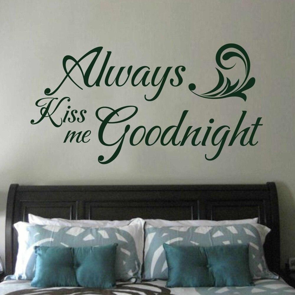 Always Kiss Me Goodnight - Love Quote Romantic Vinyl Saying Couple Room Decor 34 x 18 M