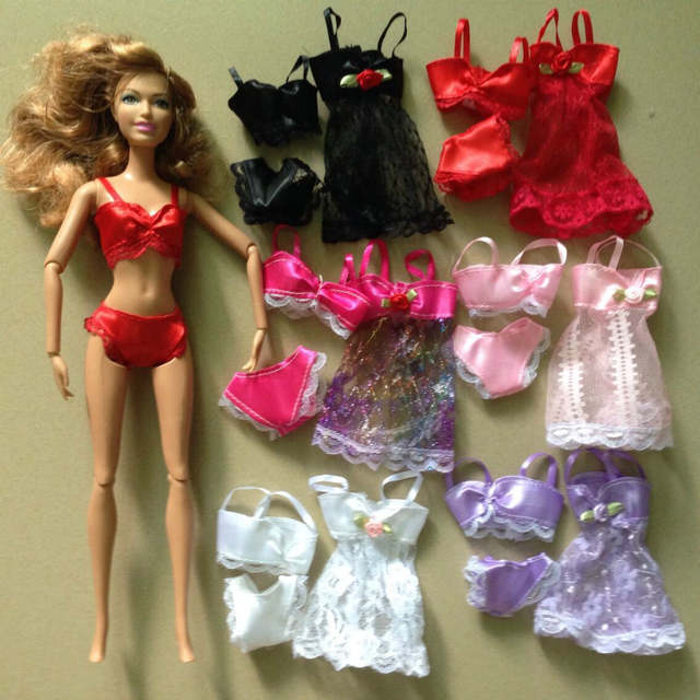 aa26b56a619 100Sets/lot Wholesale Sexy Doll 3 Piece Lingerie Dress Suits Outfits For  Barbies Doll Dress+Bra+Underwear Lace Nightwear Pajamas-in Dolls  Accessories from ...