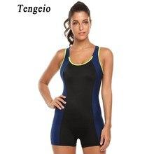 Tengeio Лето Фитнес тренировки Для тела костюм Для женщин комбинезон короткий рукавов купальник черный спортивный комбинезон Для тела Femme 730