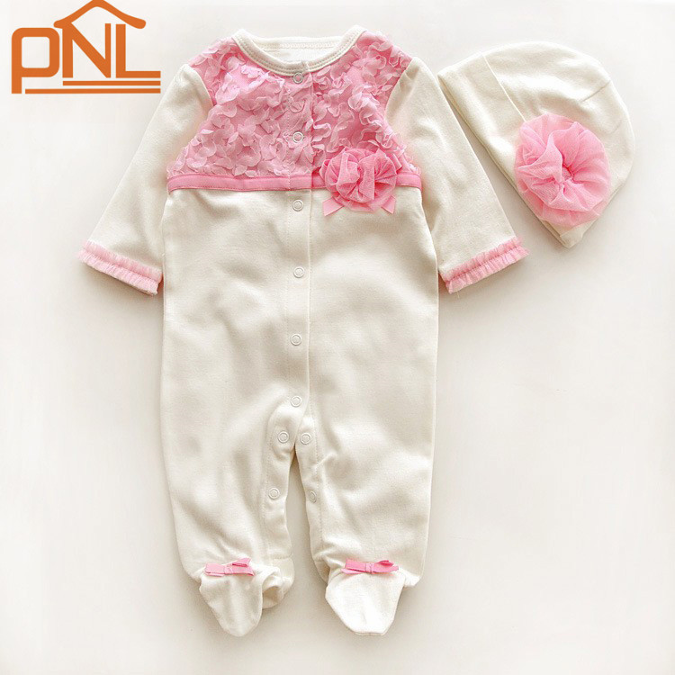 Princess Style Newborn Baby Girl Clothes Flowers Romper Clothing Set Jumpsuit Hat 2 PC Cute Infant