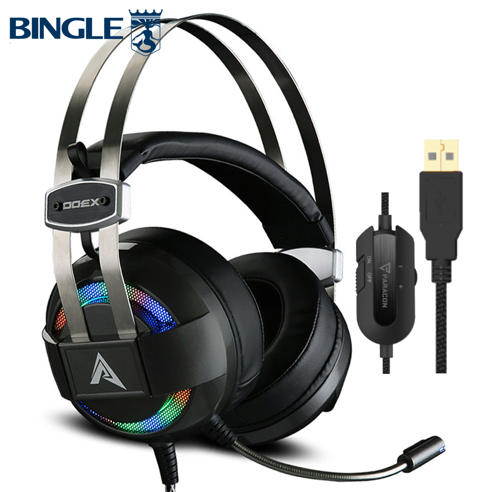 X300 Glowing Titanium 7.1 Surround Sound Usb Gaming Headset Gamer Headphones With Microphone For PC,PS4,Xbox One,360,Playstation