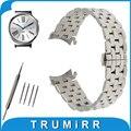 18mm pulseira curvo fim de aço inoxidável cinta para huawei watch/fit honor s1 borboleta fivela banda correia de pulso pulseira preto
