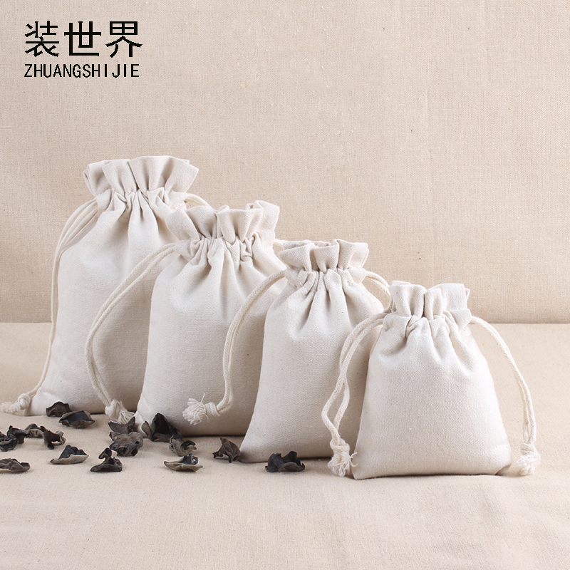 13*17cm Natural Resuable Cotton Canvas Pouch Custom Logo Print Eco Drawstring Gift Food Candies  Christmas Packaging Bags